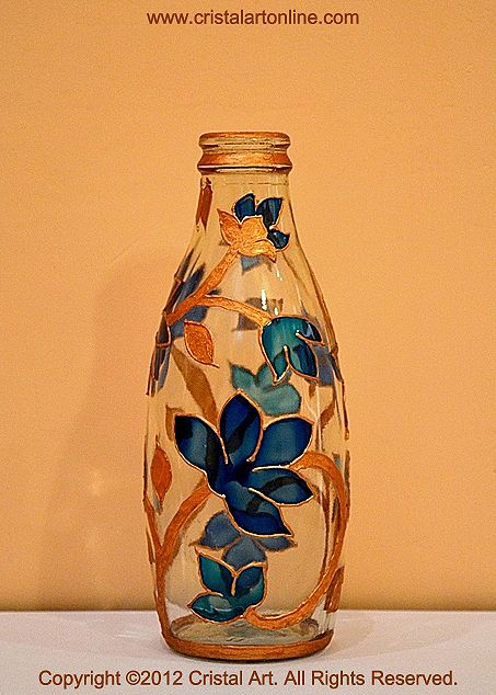 Gold flowery pretty aarons bottles pinterest glass paint for How to paint glass bottles