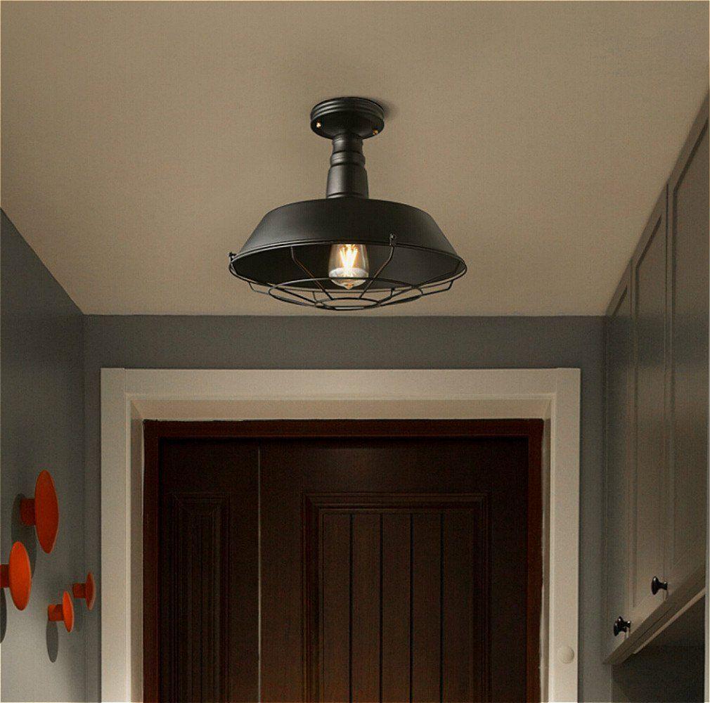 Ladiqi Industrial Pure Black Semi Flush Mount Ceiling