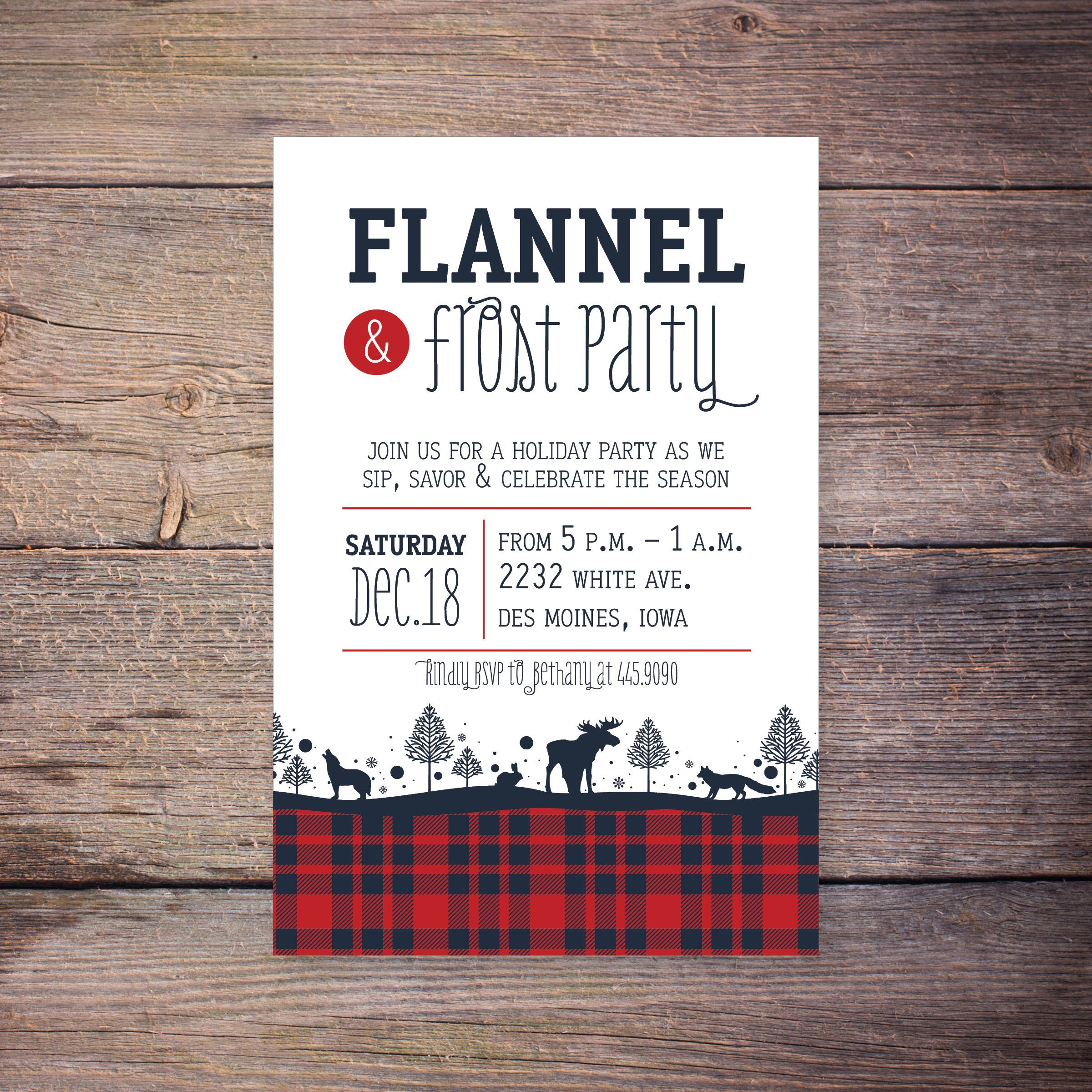Flannel and Frost Christmas Party Invitation, Holiday Party Invite ...