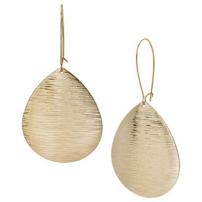 Target Sterling Silver Textured Drop Earrings - Gold $8