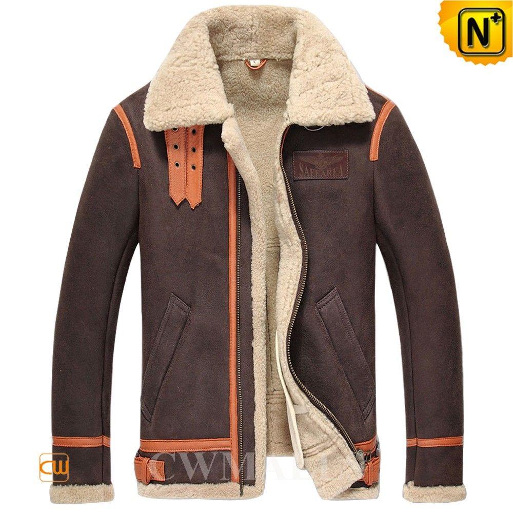 Cwmalls Sheepskin Shearling Aviator Jacket Cw857195 Mens Shearling Jacket Bomber Jacket Fashion Suede Jacket Men [ 1000 x 1000 Pixel ]