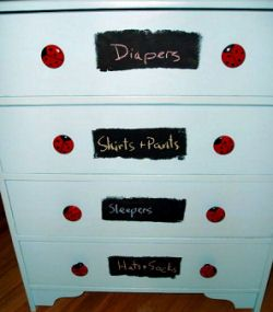 DIY nursery furniture and baby dresser and knob ideas.