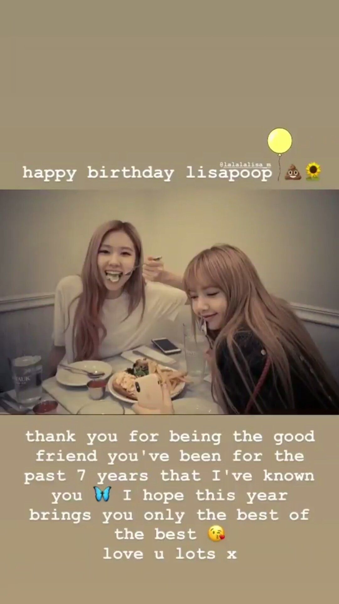 Rosé Instagram Story Update With Lisa Birthday wishes