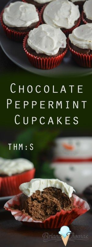Chocolate Peppermint Cupcakes These super easy take minutes to whip up and are topped with a creamy peppermint frosting!  sugar free,