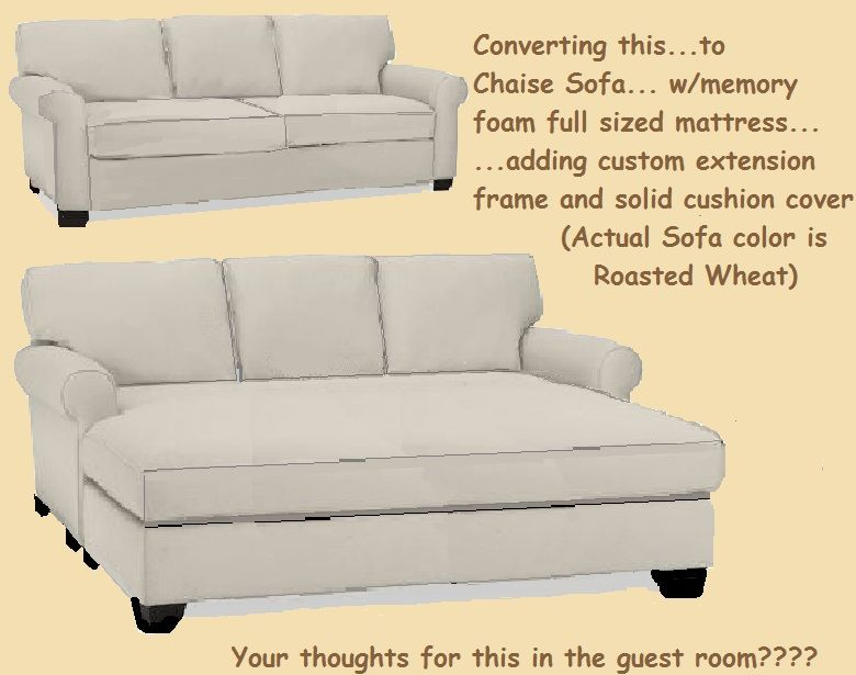 combining my full memory foam mattress with old sofa to create a cozy sofa chaise w