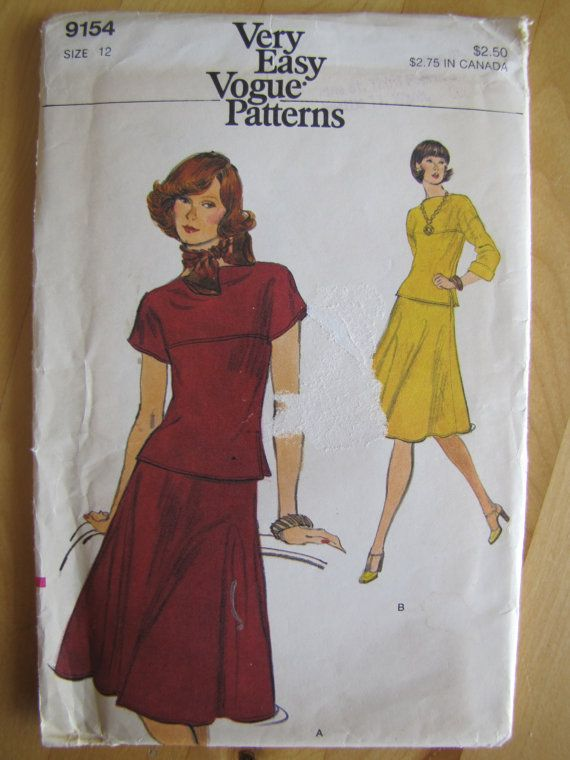Uncut Vogue Sewing Pattern 9154 Misses Top by andthenYesterday