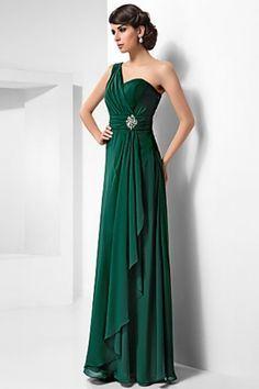 Long dark green bridesmaid dresses