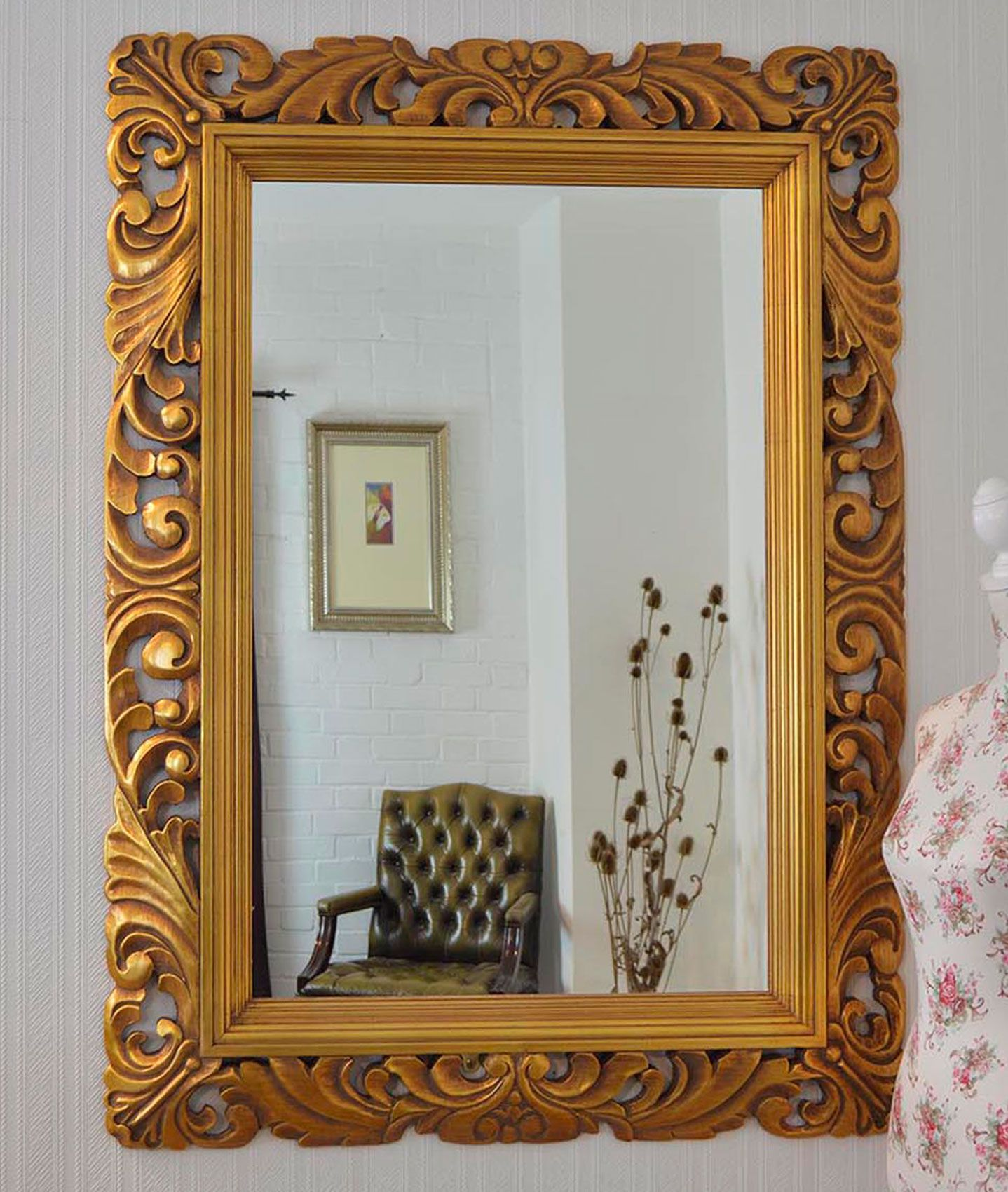 6 Large Ornate Handcarved An Elaborate Solid Wood Carved Frame Is The Perfect Finishing Piece Rustic Wall Mirrors Mirror Wall Living Room Big Wall Mirrors