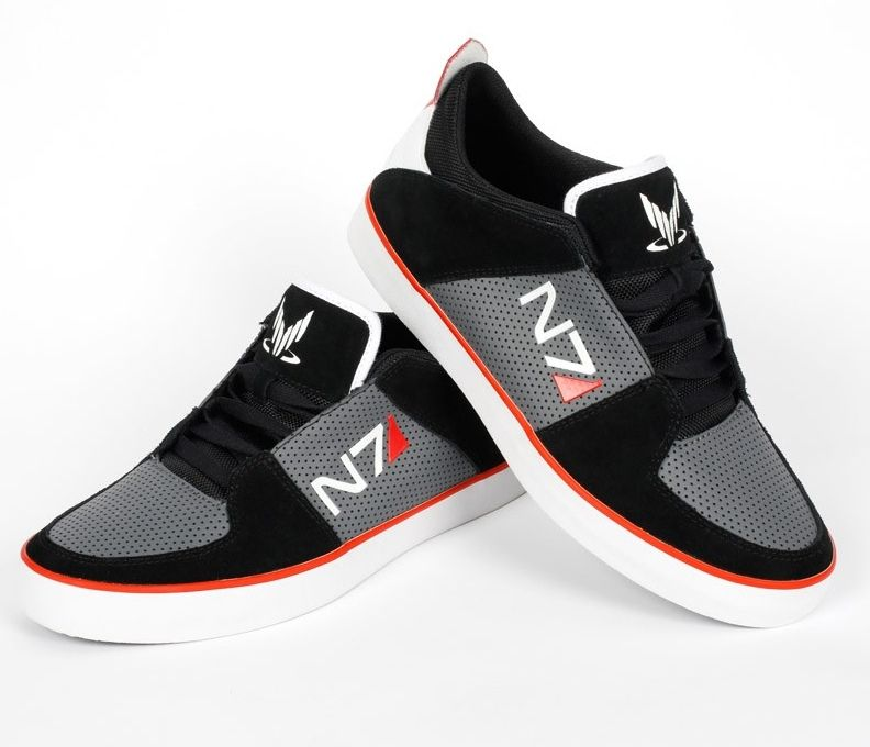 Mass Effect N7 Shoes! | Geek shoes, Striped sneakers, Sneakers