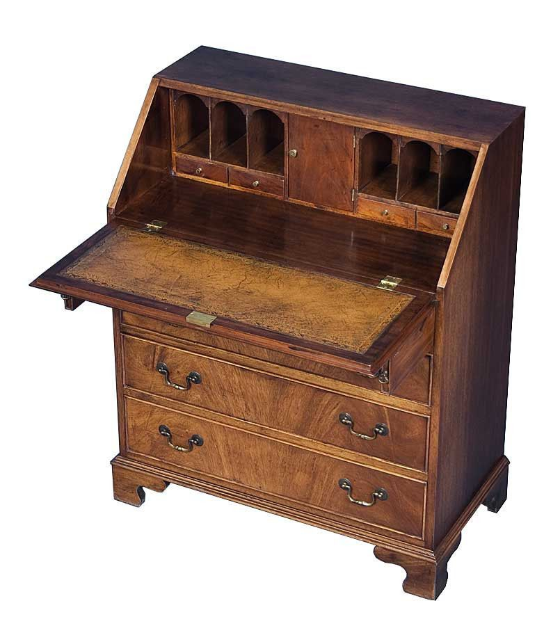 Antique Secretary Desk in Flame Mahogany with Brown Leather & Satinwood  Inlays - Antique Secretary Desk In Flame Mahogany With Brown Leather