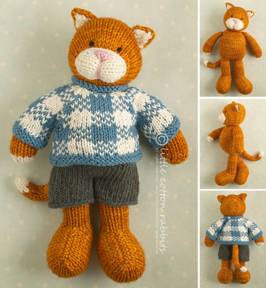 Toy knitting pattern for a boy cat with a plaid sweater ...