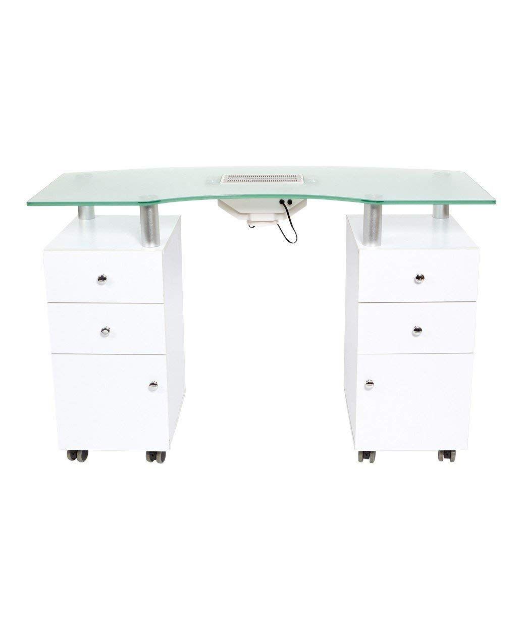 J A Glass Top Manicure Table W Draft Vent Manicure Table Salon Interior Design Nail Salon Interior Design