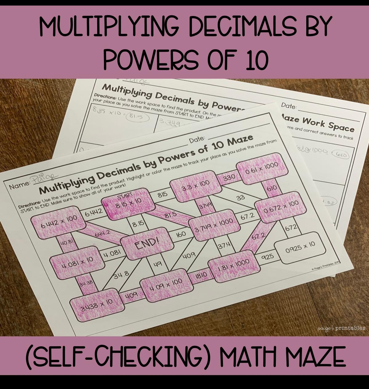 Multiplying Decimals By Powers Of 10 Math Maze No Prep