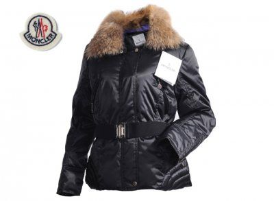 2015 New Moncler Cheap Men Outlet Faucon Women Down Jacket Zip With Belt Black  Coats