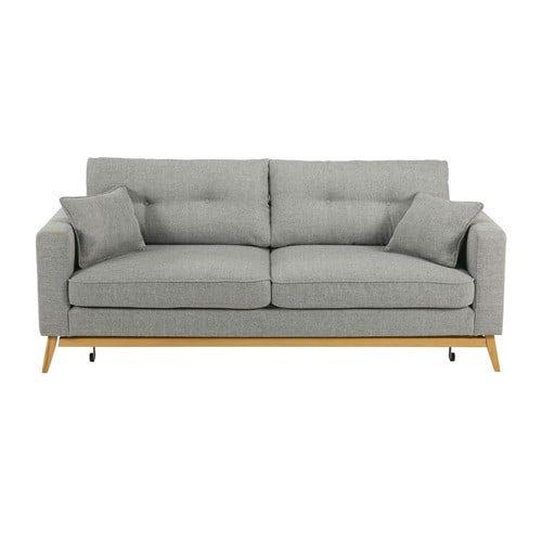 Hochwertig Brooke   Skandinavisches Ausziehbares 3 Sitzer Sofa Aus Hellgrauem Stoff
