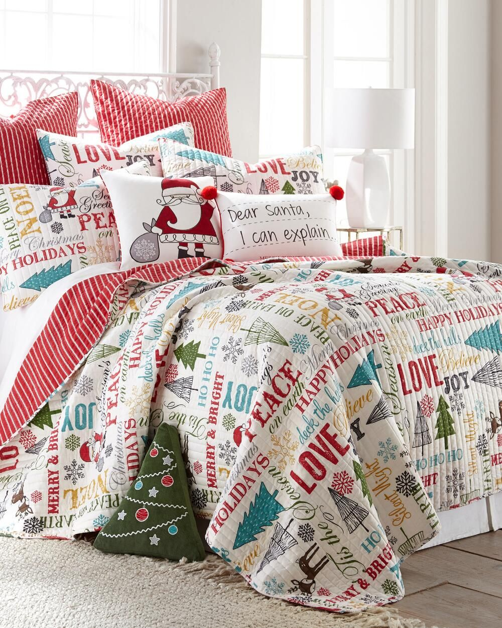 Holiday Words Luxury Quilt Collection-Quilts-Bedding-Bed & Bath ... : holiday bedding quilts - Adamdwight.com