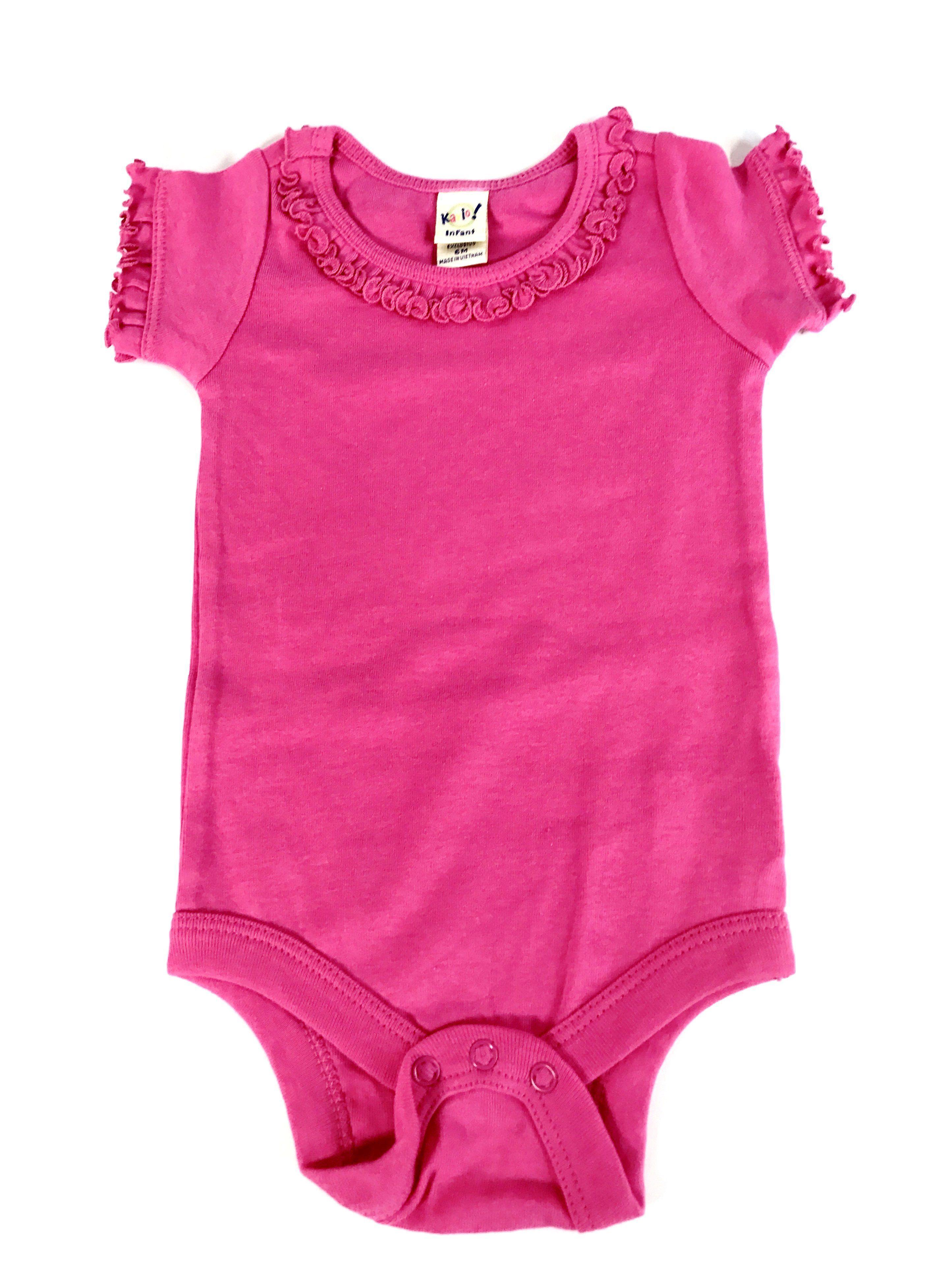 Ruffle Neck Onesie; Hot Pink