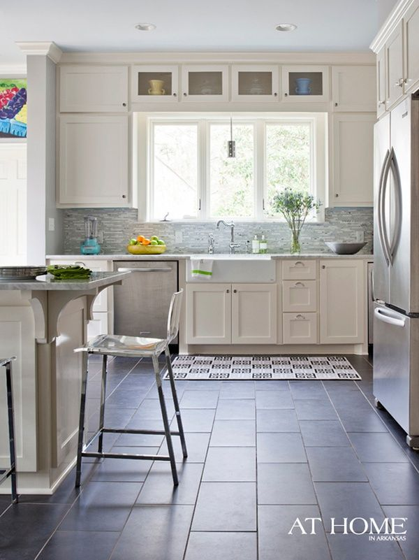 I Like The Brackets On The Corner Of The Island The Vintique Object Ceramic Tile Floor Kitchen Wooden Kitchen Floor Kitchen Flooring