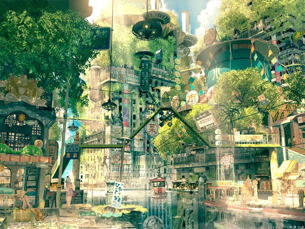 Future Japan Fantasy Landscape Anime Scenery City Art