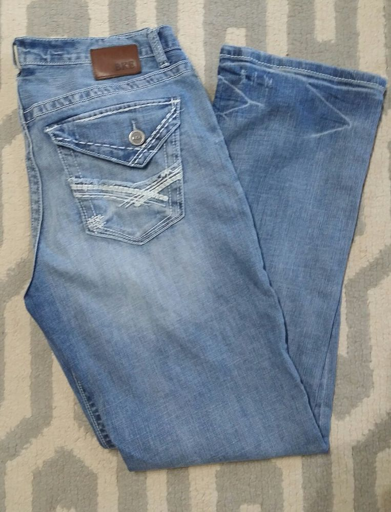 ab8935afacf Mens BKE Jeans 34 TYLER Straight 34 x 32 flap THICK Stitch Buckle Light  great  Buckle  ClassicStraightLeg