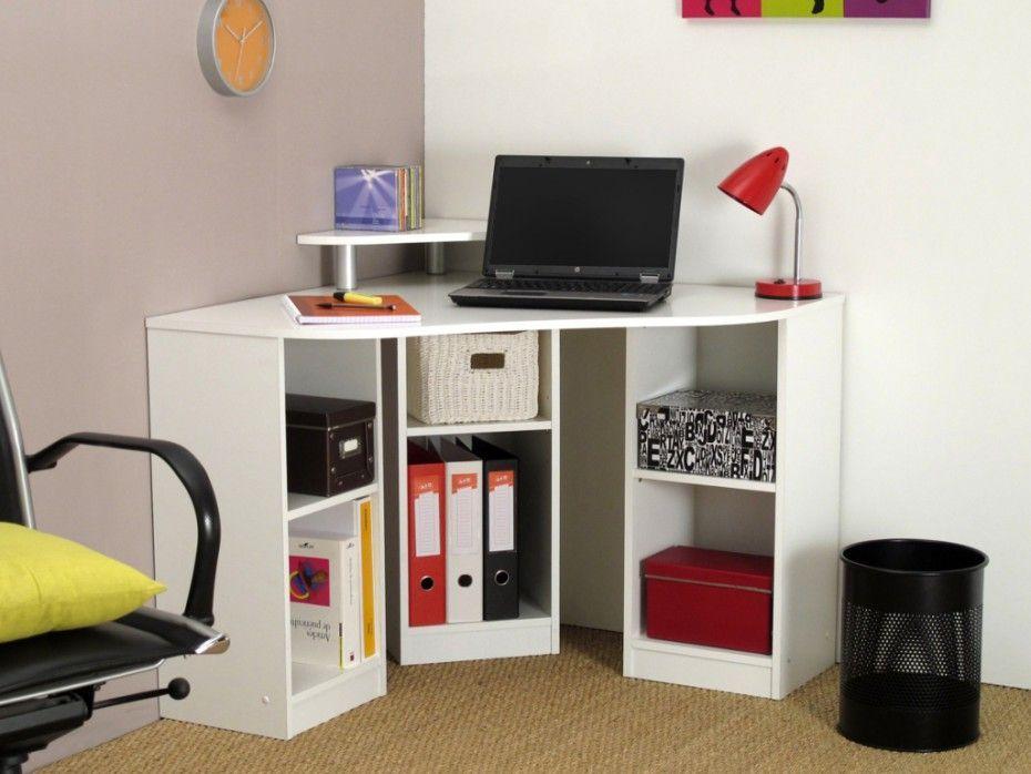 Bureau D Angle Avec Etageres Fiducia Coloris Blanc Bureau Angle Mobilier De Salon Meuble Bureau