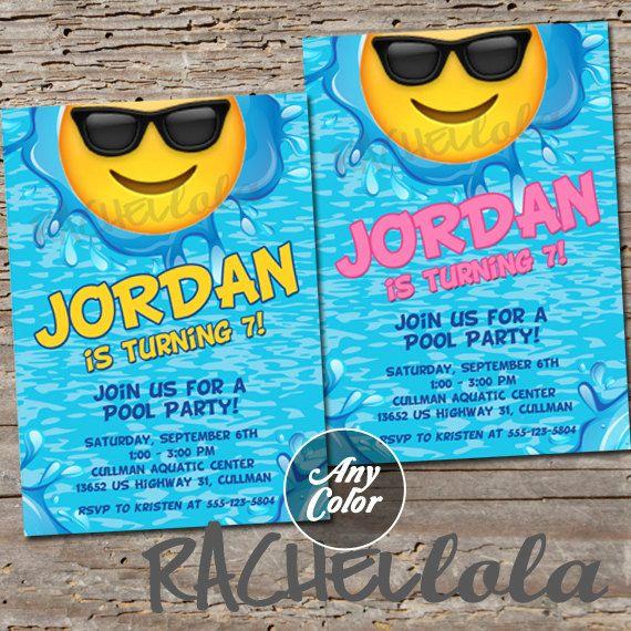 Sunglass Emoji Pool Party invitation printable digital print – Ocean Party Invitations