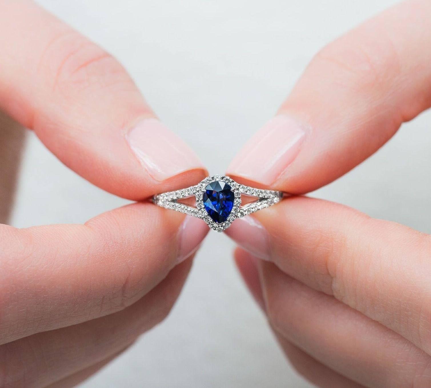 Would you wear this Fana deep blue sapphire pear + split shank ...