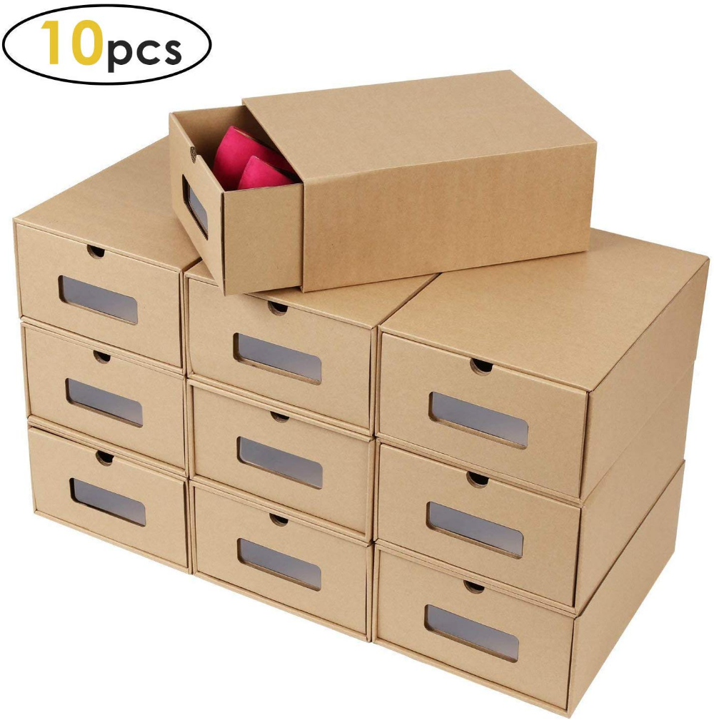 Amazon Com Prasacco Shoes Box 10 Pack Rugged Durable Perspective Breathable Diy Visible Cardboard Shoe Storag Shoe Box Storage Shoe Storage Storage Boxes