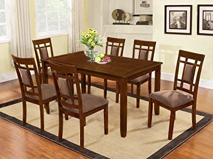 The Room Style 7 Piece Cherry Finish Solid Wood Dining Table Set Rectangular Dining Set Solid Wood Dining Table Espresso Dining Tables
