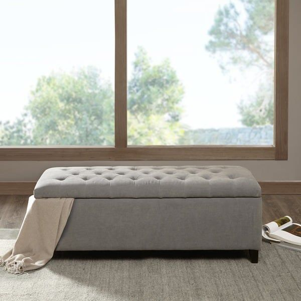 Madison Park Sasha Grey Tufted Top Storage Bench | For the Home ...
