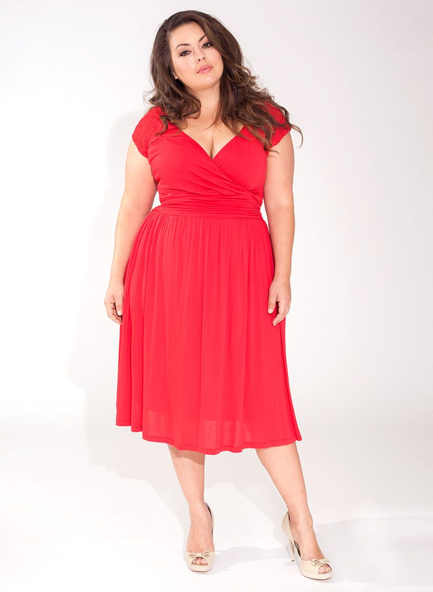 Lace dress for big size  Stephanie Plus Size Casual Dress in Red From The Plus Size Fashion