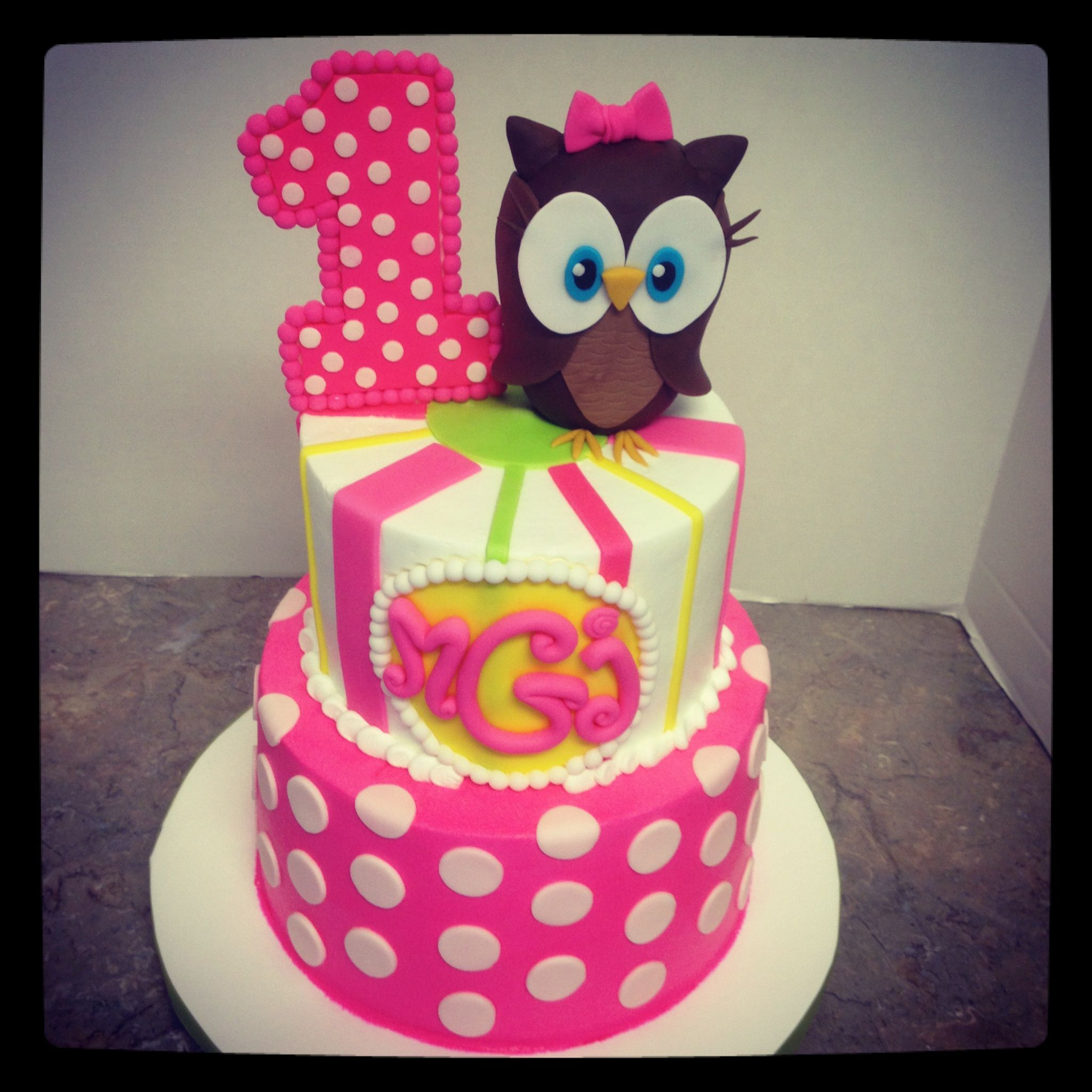 Girly Owl 1st Birthday Cake Designed To Match Party Decor