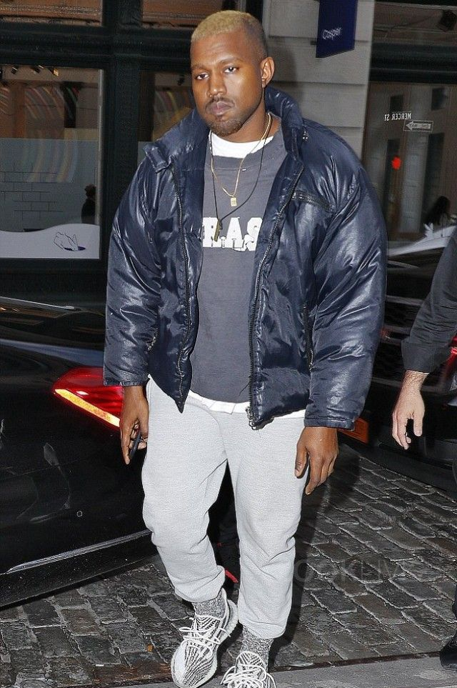 Kanye West wearing Adidas Yeezy Boost 350 V2 Sneakers, Champion Powerblend  Retro Fleece Jogger Pant