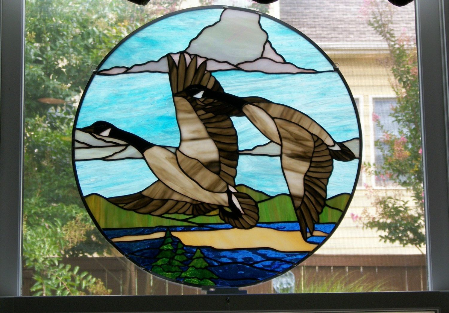 Stained Glass Canada Geese Panel Stained Glass Stained Glass Birds Stained Glass Suncatchers