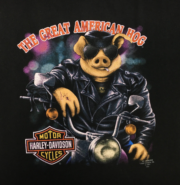 HARLEY DAVIDSON Great American Hog Shirt 1991 Vintage 90s 3D Emblem