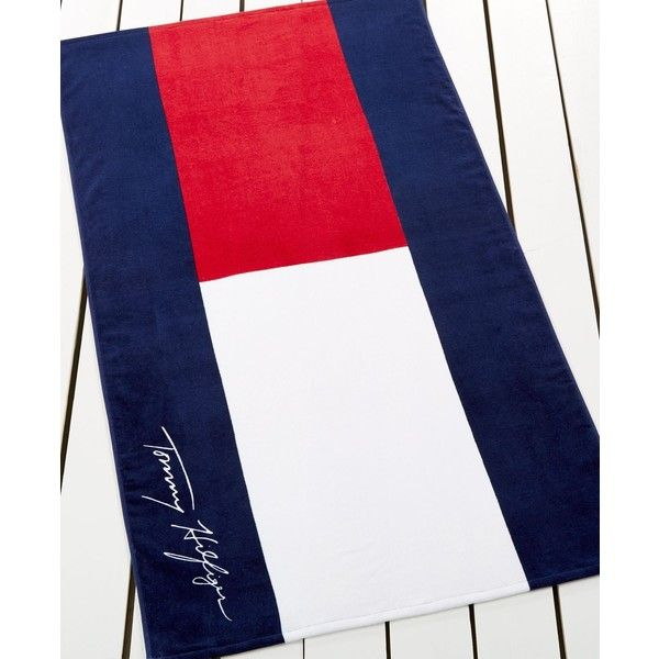 75f9dfc6fc Tommy Hilfiger Home Cotton Logo Beach Towel ($42) ❤ liked on Polyvore  featuring home, bed & bath, bath, beach towels, th logo beach towel, tommy  hilfiger ...