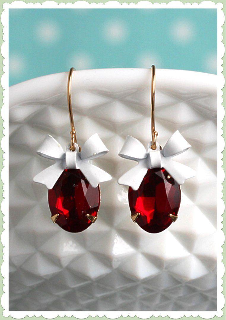 """Fräulein Wildkirsch Vintage Ohrringe """"Rubin Funkeln"""" Rot Weiß"""