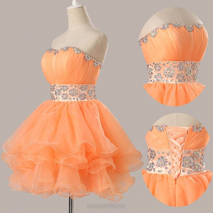 Ball gown sweetheart organza shortmini beading homecoming dresses