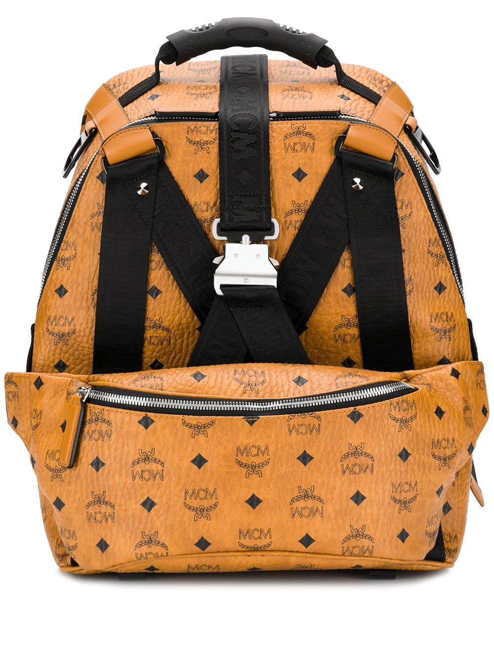 MCM logo textured backpack Brown (With images)   Mcm logo