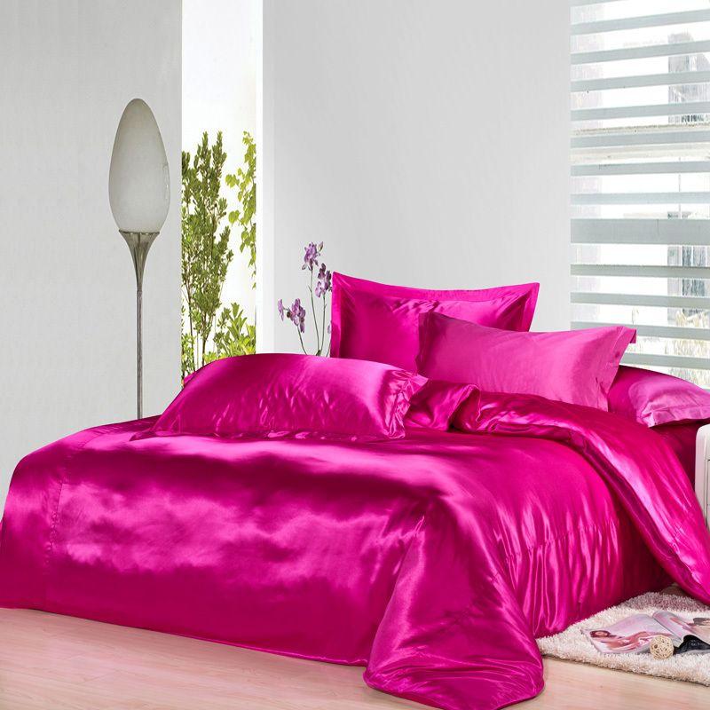Hot Pink Satin Comforter Sets Silk Bed Sheets Silk Duvet Cover Bed Linen Sets