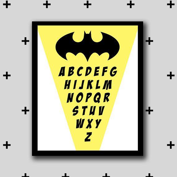 Printable batman alphabet artwork - alphabet wall art - boys room ...