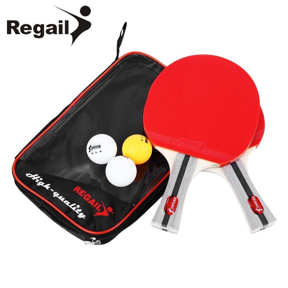 Regail 8020 Table Tennis Ping Pong Racket Two Shake Hand Grip Bat Paddle Three Balls Red 2v96280812 Table Tennis Table Tennis Racket Ping Pong