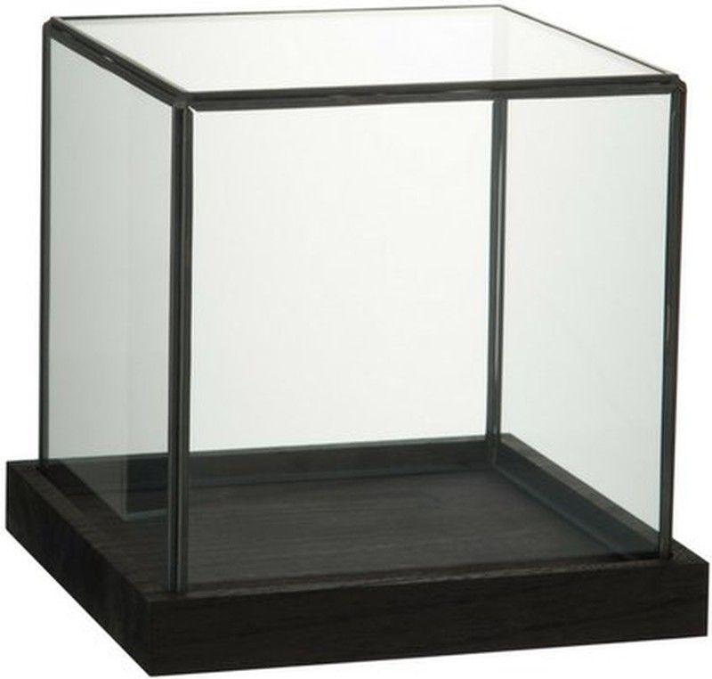 Glazen Stolp Vierkant Zwart Stolp Zwart Interieur Houten