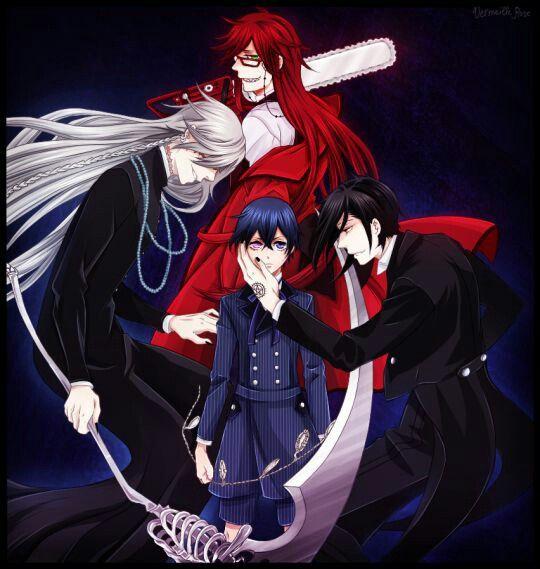 Black butler, Kuroshitsuji, Grell Sutcliff, Undertaker ...  Black butler, K...