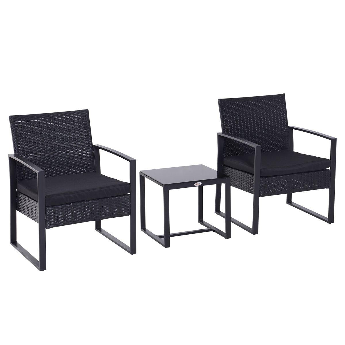 Salon De Jardin 2 Places Avec Table Basse Noir - Taille : 4 ...