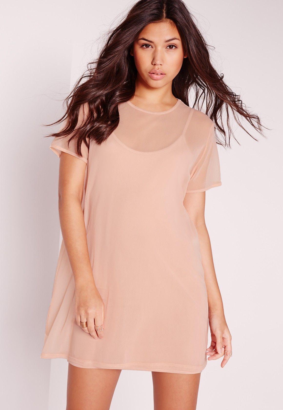 cd47bcd98b6 Missguided - Short Sleeve Mesh T-Shirt Dress Nude  42