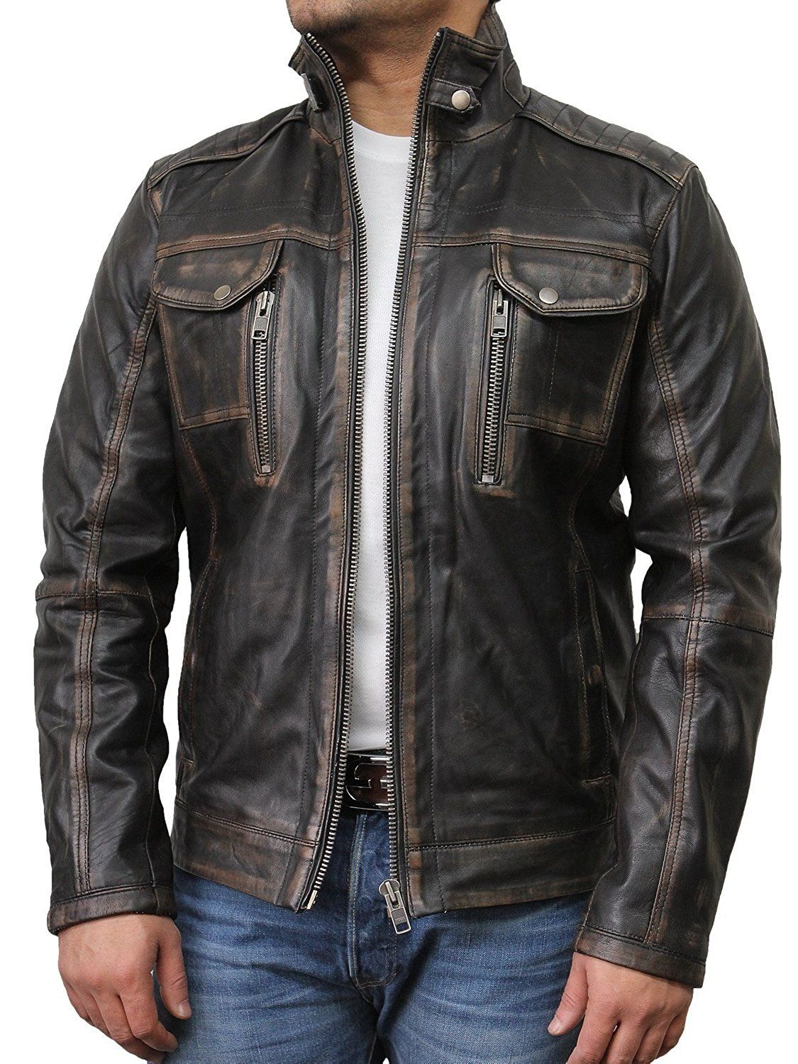 Brandslock Men s Vintage Leather Biker Jacket at Amazon Men s Clothing  store  a8de588fcc78