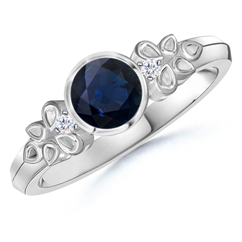 Angara Vintage Sapphire Engagement Ring in Platinum vW213dv