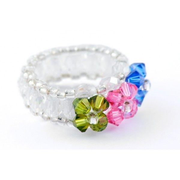 Bague LINE, de type alliance, créée avec des perles en Cristal de ...