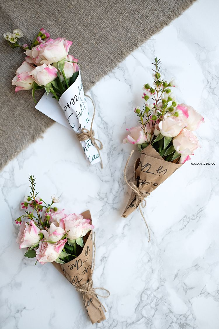 DIY Easter Mini Floral Bouquets Free Printable Wrapping